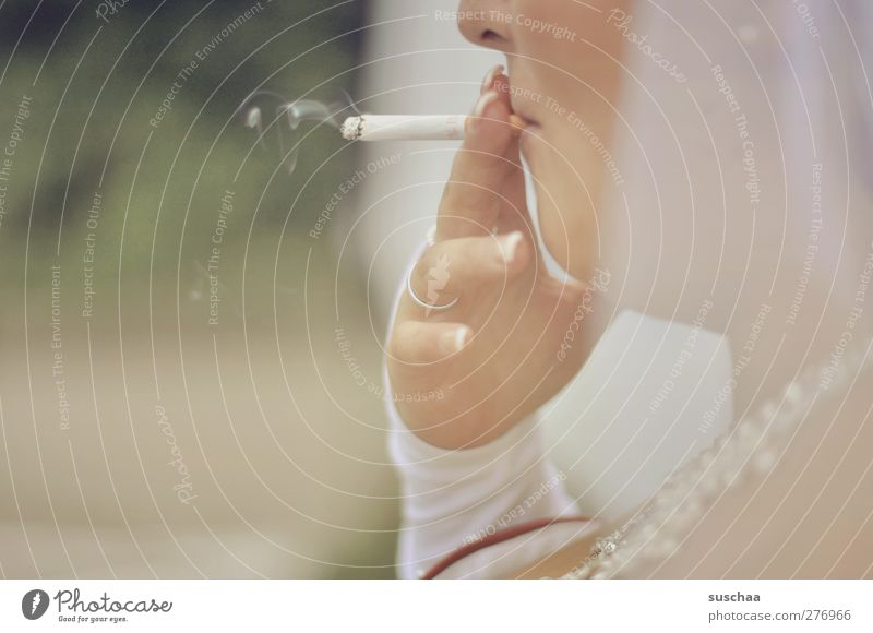 smoking bride Face Nose Mouth Hand Fingers 1 Human being 30 - 45 years Adults Smoking Serene Cigarette Smoke Wedding band Subdued colour Exterior shot Detail
