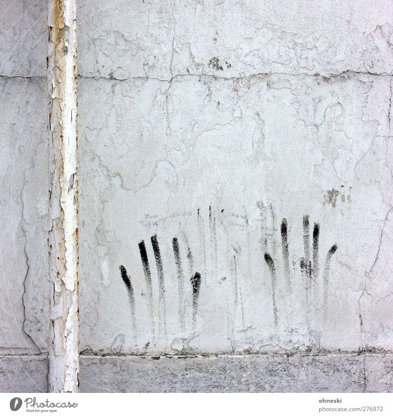 Lubricated Fingers Building Wall (barrier) Wall (building) Facade Conduit Sign Graffiti Old Broken Town Fear Horror Plaster Colour photo Subdued colour