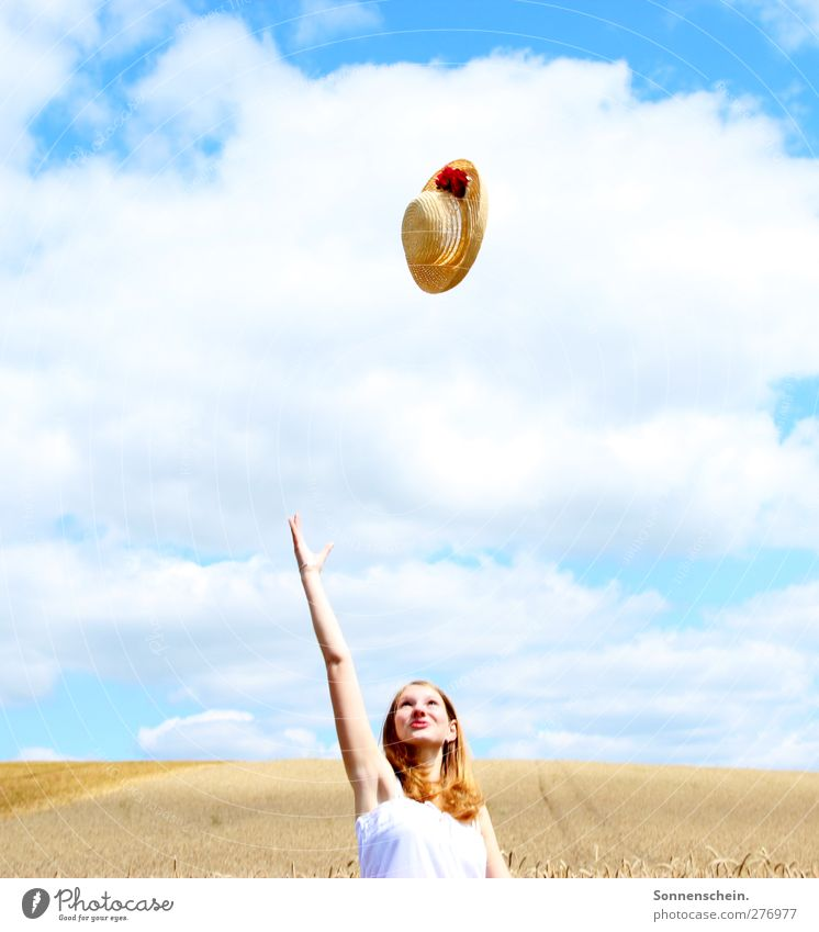 fly Joy Summer Feminine Young woman Youth (Young adults) Head Arm 1 Human being 18 - 30 years Adults Nature Landscape Air Sky Clouds Sun Sunlight