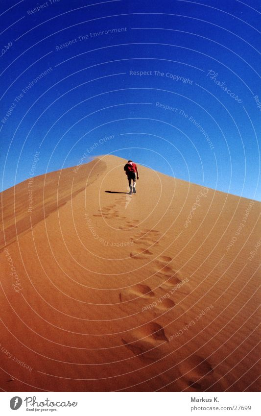 ascent Go up Hot Physics Dry Red Namibia Africa Masculine Man Munich Effort burdensome Warmth Thirst Blue Beach dune Desert Namib desert Human being