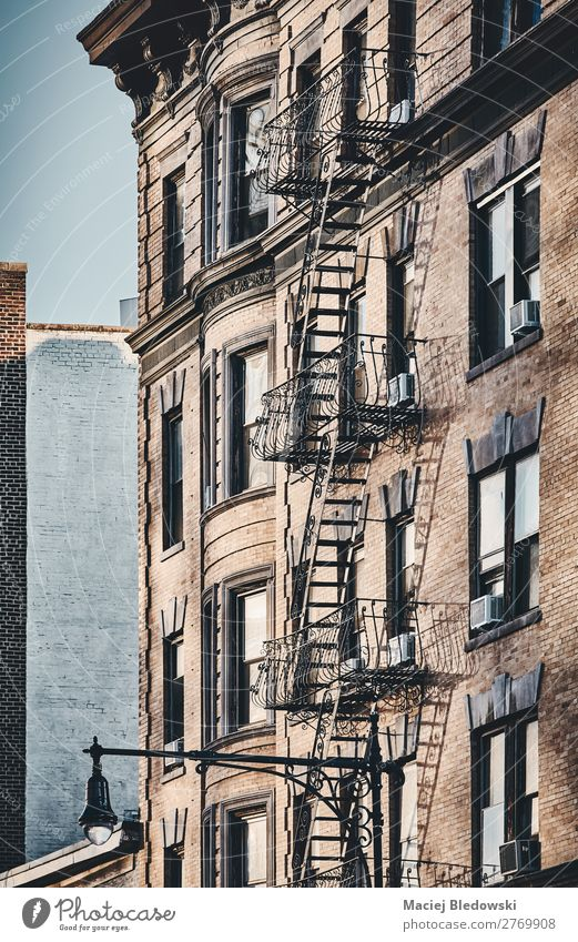 New York old building with fire escape. Living or residing Flat (apartment) House (Residential Structure) House building Small Town Building Architecture