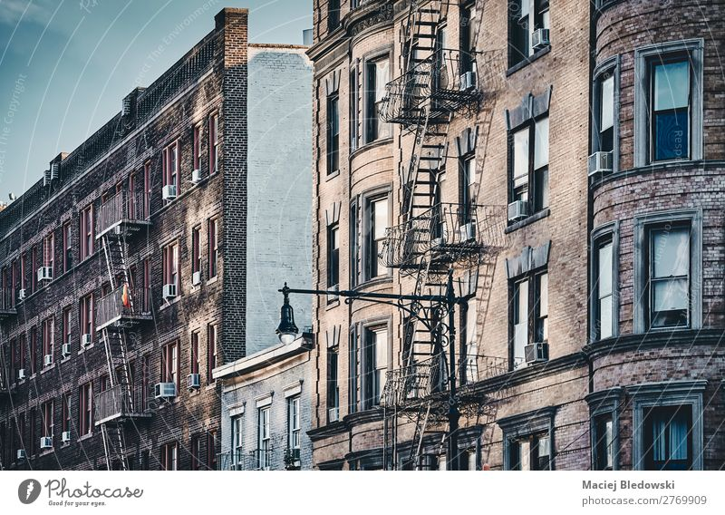 New York old buildings with fire escapes. Sightseeing City trip Living or residing Flat (apartment) House (Residential Structure) Building Architecture