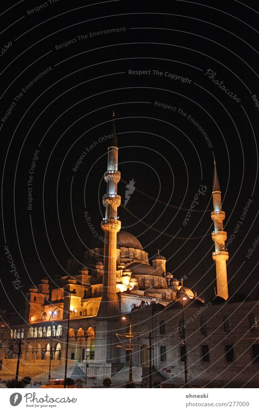 Istanbul at Night Manmade structures Architecture Mosque Minaret Tourist Attraction Belief Religion and faith Islam Islam-Hodja minaret Colour photo