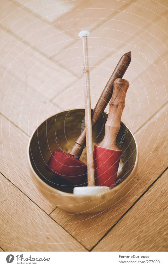 Singing bowl with felt mallets on floorboards Harmonious Well-being Contentment Senses Relaxation Calm Meditation Drumstick clappers singing bowl Bowl Bronze