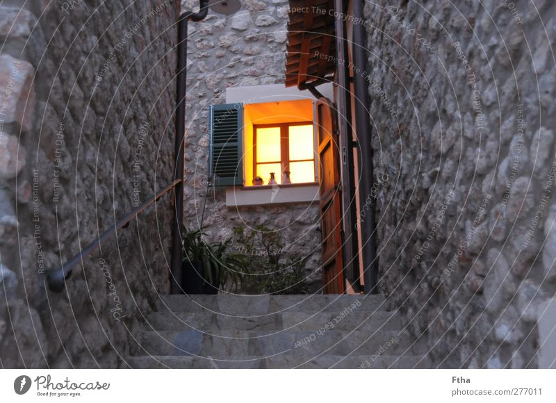 ray of hope Village Deserted House (Residential Structure) Building Wall (barrier) Wall (building) Facade Stone Yellow Gray Orange Majorca Vacation home Shutter