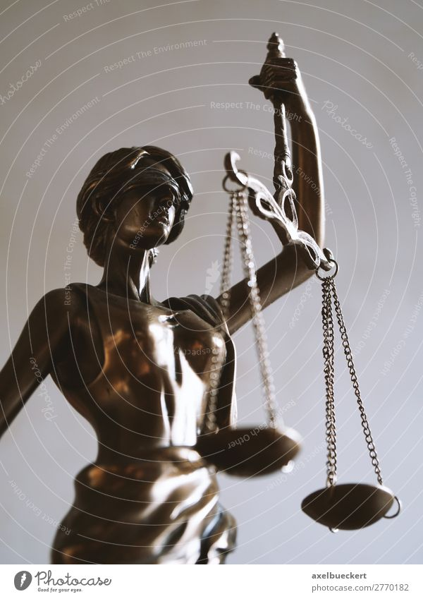 Justitia - Symbol of justice and justice Academic studies Profession Business Sign Fairness Symbols and metaphors Statue Bronze Blind Balance Legislative Lawyer