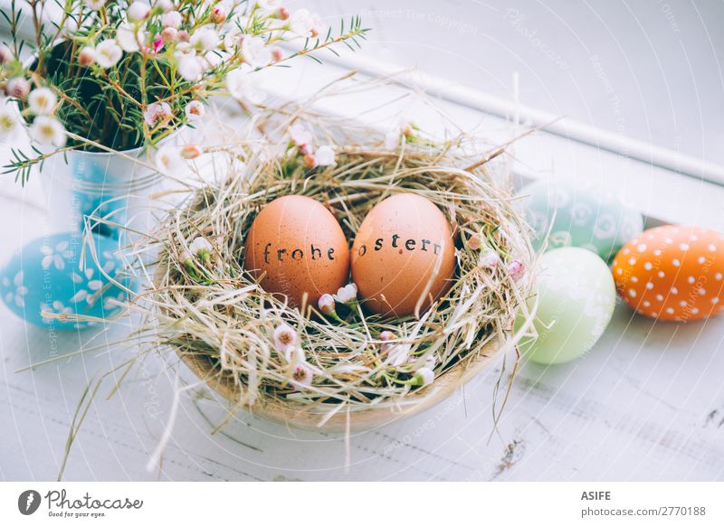 Easter eggs with greeting text stamp next to a window Beautiful Handcrafts Decoration Flower Grass Wood Ornament Funny Natural Cute Original White Tradition Egg