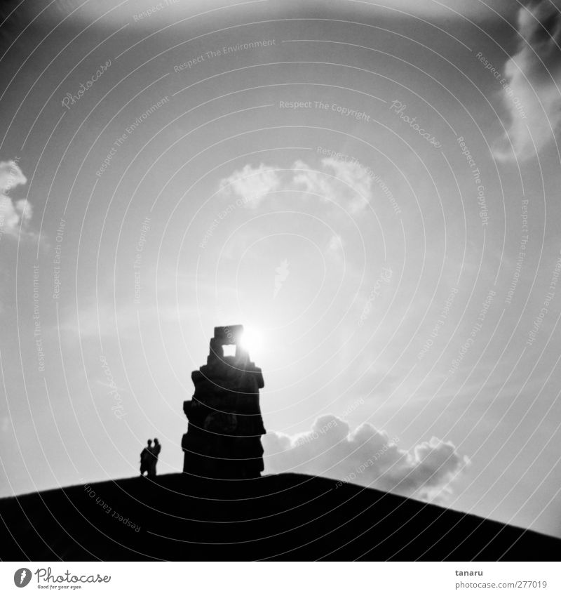 At the end of the stairway to heaven Human being 2 Art Work of art Sculpture Architecture Sky Clouds Tourist Attraction Observe Stand Infinity Black Moody