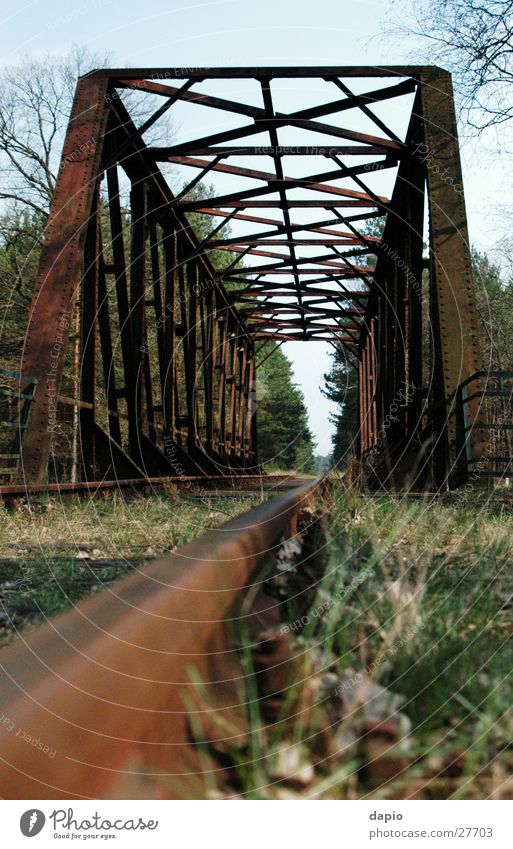 Old Railway Bridge Railway bridge Railroad bridge Forest Loneliness