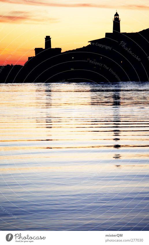 Vacation & Travel Art Esthetic Romance Idyll Harbour Bay Spain Lighthouse Mediterranean sea Majorca Port City Vacation photo Vacation destination Vacation mood