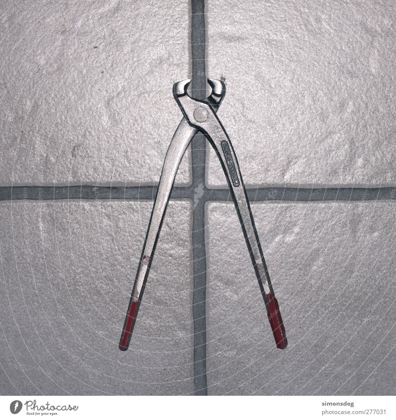 cut Crucifix Glittering Cold Silver Pair of pliers Tool Tile Divide Metalware Working equipment Average Colour photo Interior shot Close-up Detail Abstract