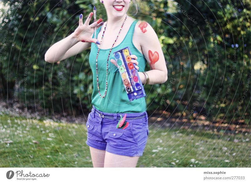 colour your life. Make-up Summer Young woman Youth (Young adults) Life Body Fingers Smiling Laughter Brash Happiness Joy Joie de vivre (Vitality) Multicoloured