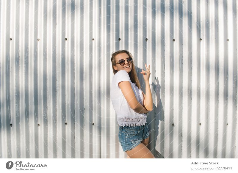 Trendy girl posing at street Woman Style Town Self-confident Posture Uniqueness Summer Street fashionable Hipster youngster Feminine Fashion Portrait photograph
