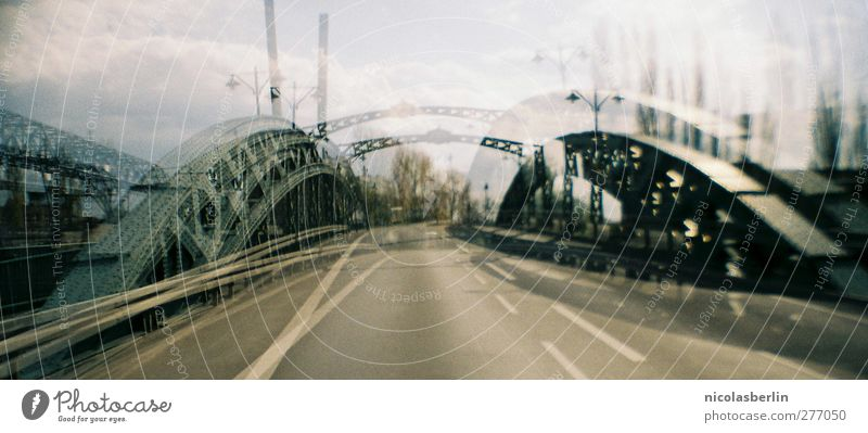 Bridge, please! Clouds Town Deserted Manmade structures Transport Traffic infrastructure Street Road junction Crazy Under Surrealism Irritation 35mm sardina