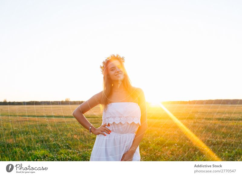 Romantic woman in green field Woman romantic Field Floral Wreath Style Feminine Joy Delicate Model Freedom Landscape Leisure and hobbies Happiness Gold