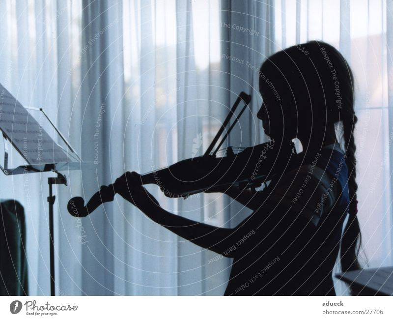 Child Blue Girl Playing Music Concentrate Concert Curtain Musical notes Braids Violin Musical instrument