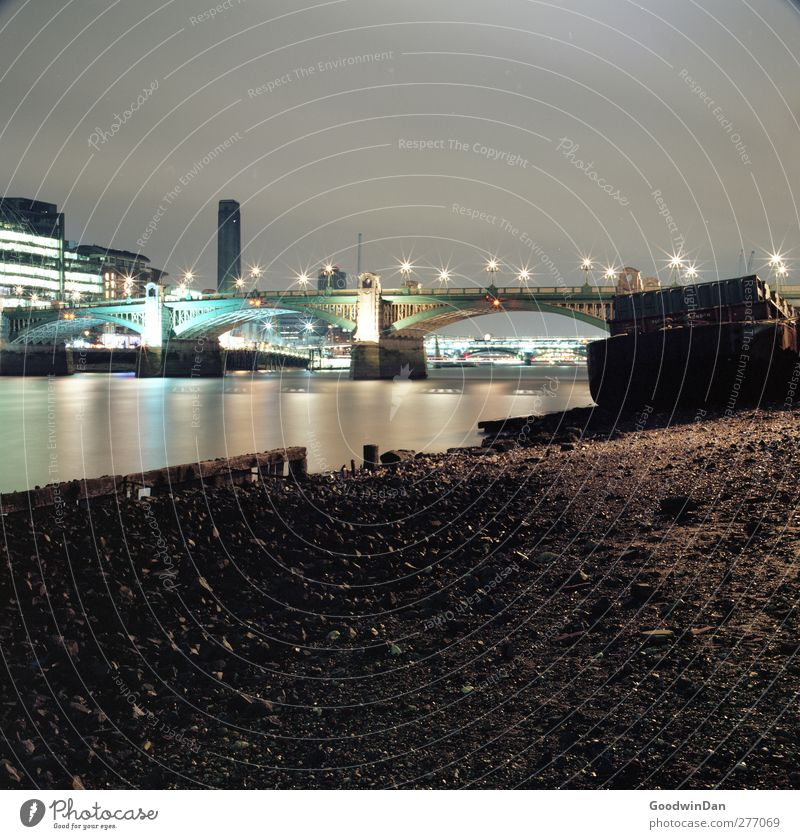 London, my love. Environment River Themse Capital city Port City Architecture Watercraft Bridge Long exposure Authentic Large Cold Moody Colour photo