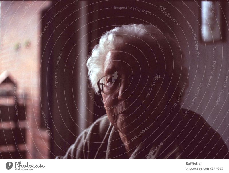 Human being Woman Old Calm Adults Face Dark Window Feminine Wall (building) Senior citizen Emotions Hair and hairstyles Wall (barrier) Head Moody