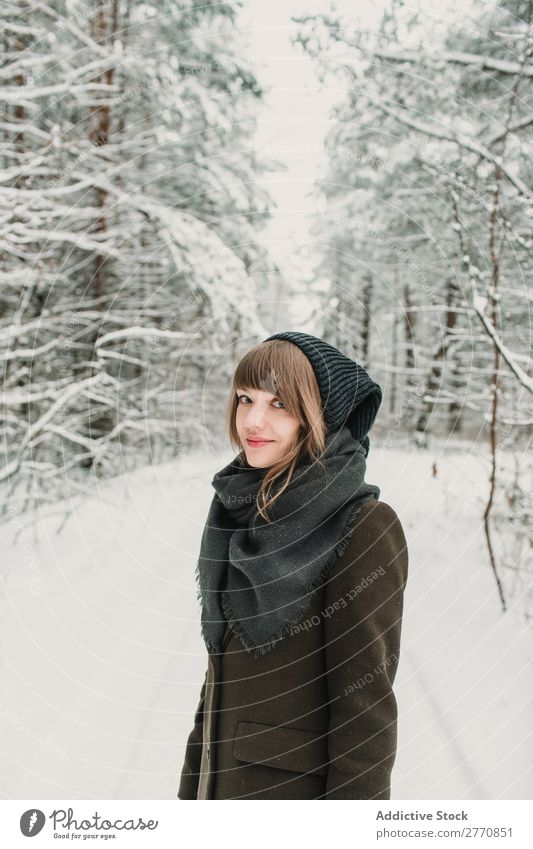 Cheerful woman in winter forest Woman Forest Winter Snow Cold Nature Youth (Young adults) White Beautiful Happy Seasons Joy Lifestyle Leisure and hobbies