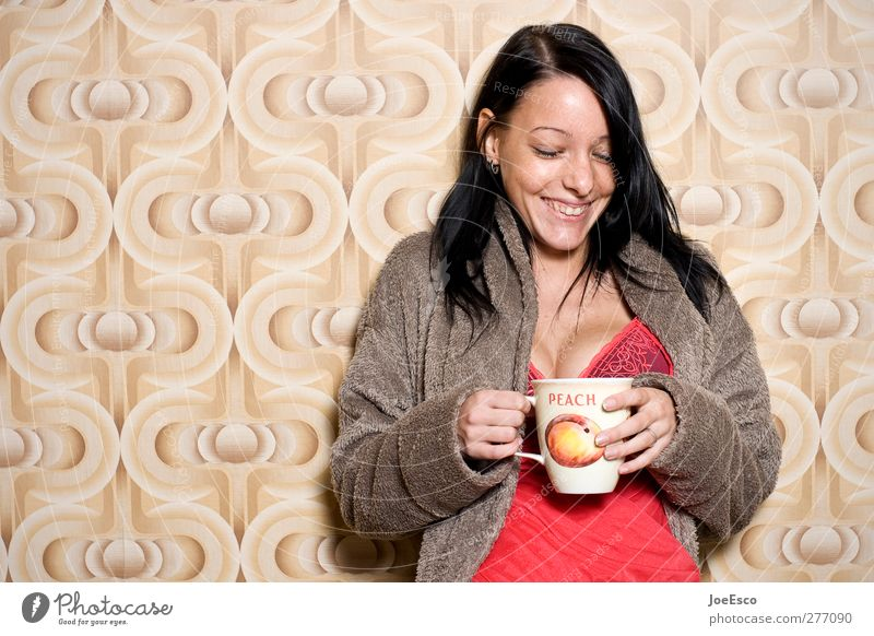 #216898 Breakfast Hot drink Hot Chocolate Coffee Cup Mug Style Living or residing Flat (apartment) Room Living room Woman Adults Relaxation Smiling Laughter