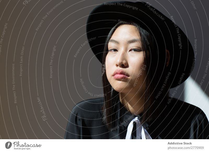 Stylish Asian woman looking at camera Woman Style fashionable asian Hat Dress Beautiful Fashion Beauty Photography Youth (Young adults) Model