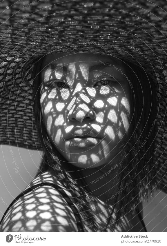 Asian woman in big hat Woman Style fashionable asian Hat Sun Protection Shadow Grid Beautiful Fashion Beauty Photography Youth (Young adults) Model