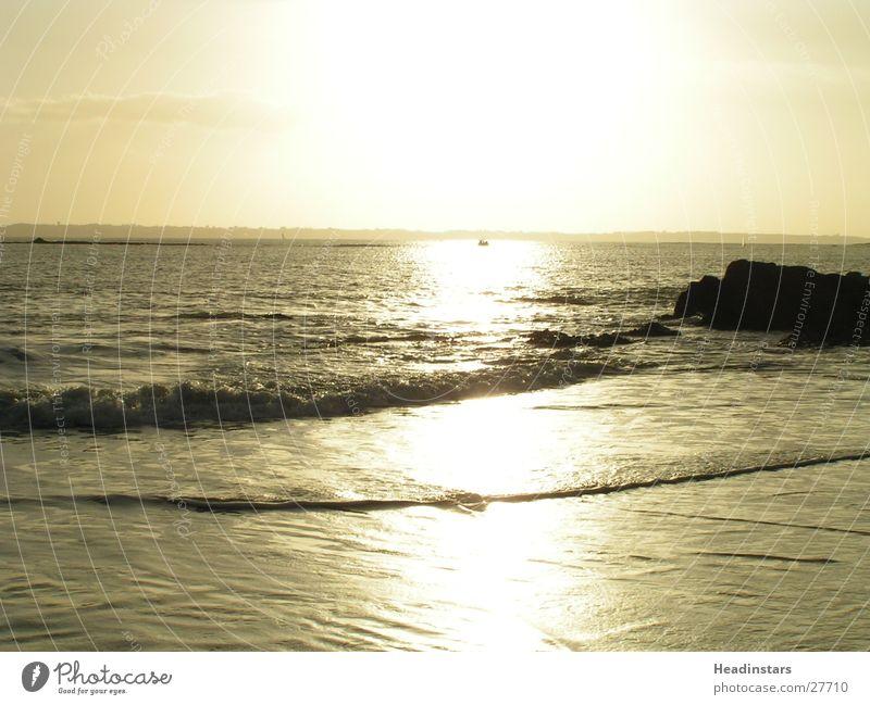 setting sun on the sea in Lorient in France Ocean Sun