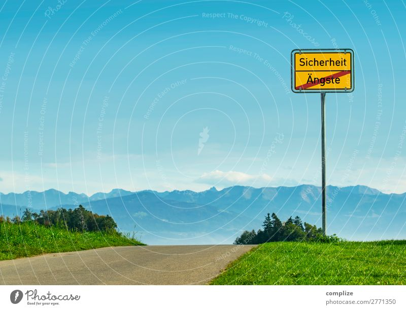 Safety - Fears Environment Nature Landscape Sky Clouds Horizon Sun Weather Beautiful weather Plant Meadow Field Alps Mountain Transport Road traffic Street