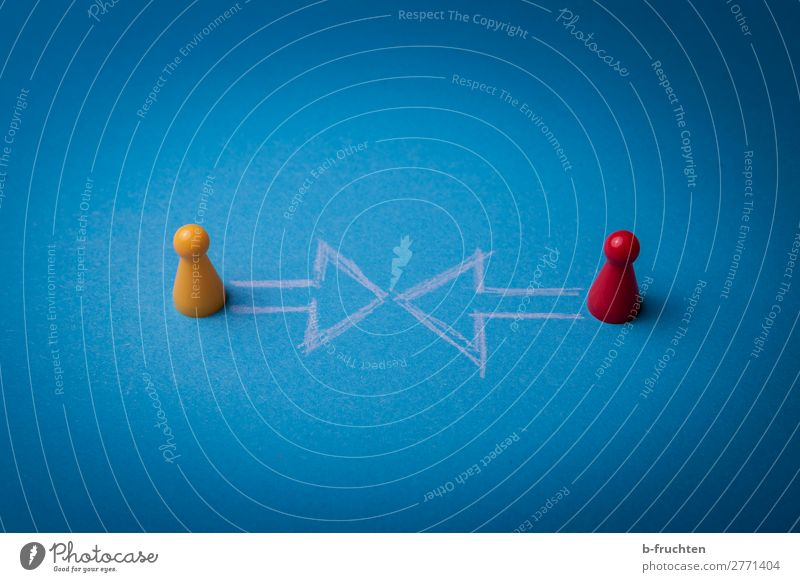 Blue Yellow To talk Lanes & trails Movement Business Couple Exceptional Together Communicate Observe Sign Direction Network Plastic Select