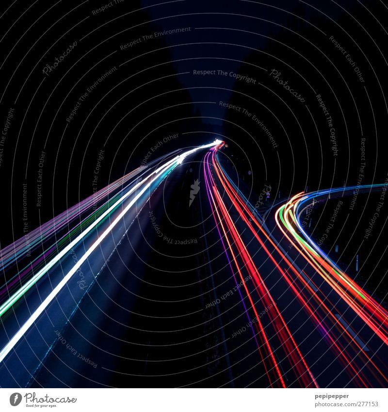 speedlights Transport Means of transport Traffic infrastructure Passenger traffic Road traffic Motoring Highway Vehicle Car Line Illuminate Multicoloured