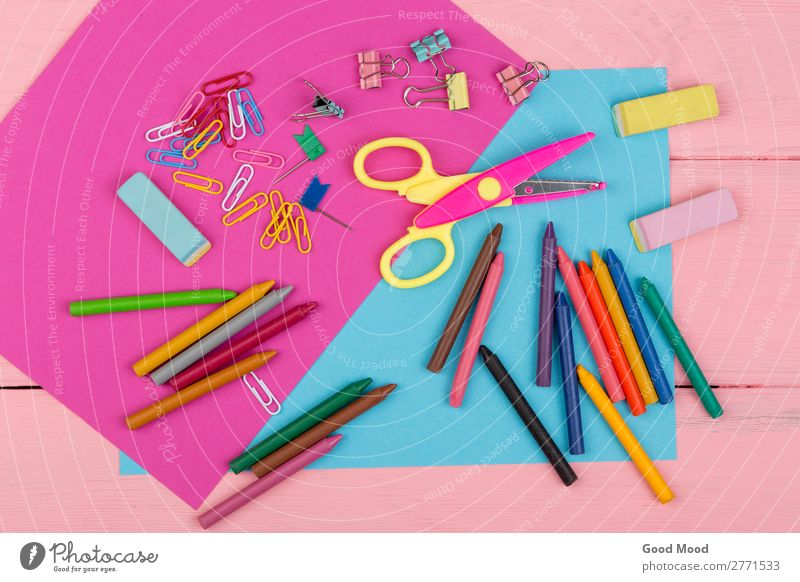 markers, crayons, pink and blue paper, scissors, eraser Joy Table School Scissors Infancy Group Art Elements Accessory Tie Paper Wood Above Blue Pink Colour