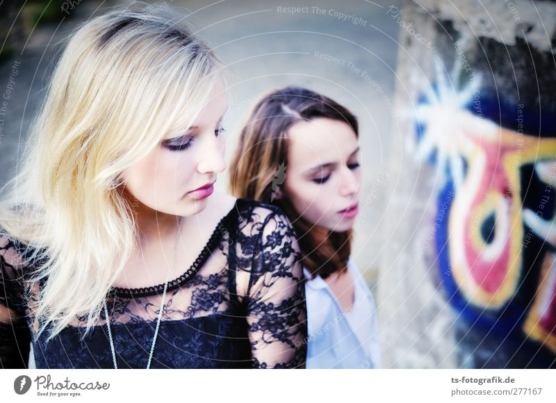 The Physicists Human being Feminine Young woman Youth (Young adults) Woman Adults 2 18 - 30 years Emotions Beautiful Boredom Blonde Colour photo Exterior shot