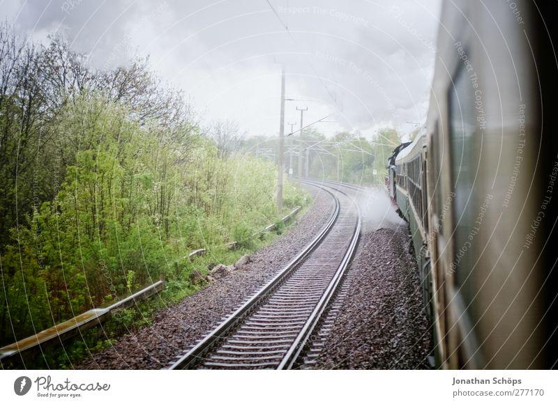 Nature Vacation & Travel Landscape Environment Rain Travel photography Transport Trip Adventure Esthetic Railroad Observe Romance Historic Railroad tracks Smoke