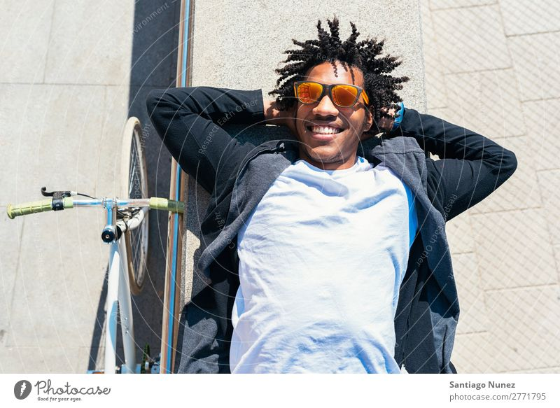 Handsome afro man relaxing near his bike. Man Bicycle fixie Hipster Lifestyle Walking Lie (Untruth) Relaxation enjoying Cycling City Town Human being handsome