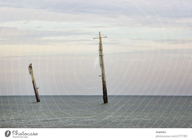 unrigged Landscape Water Sky Clouds Horizon Weather Baltic Sea Navigation Steamer Dive Blue go underground wreck Subdued colour Exterior shot Copy Space top Day