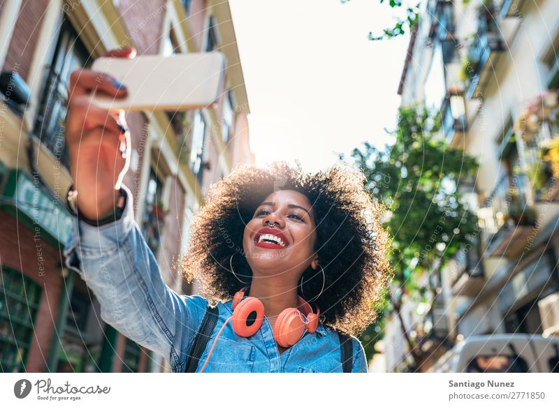 Self portrait of beautiful young afro american woman. Woman Black African Afro Human being Portrait photograph Sign Peace City Youth (Young adults) PDA Mobile