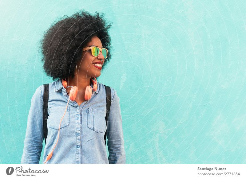 Portrait of beautiful afro american woman. Woman Black African Afro Human being Portrait photograph City Youth (Young adults) Girl American Ethnic Hair Smiling