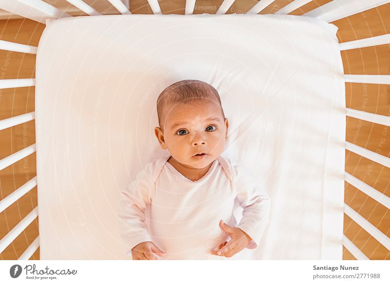 Cute Baby Girl Lying in the Crib Boy (child) Child Cot Lie (Untruth) Newborn cots Beautiful Portrait photograph Human being Caucasian Face Eyes Home White