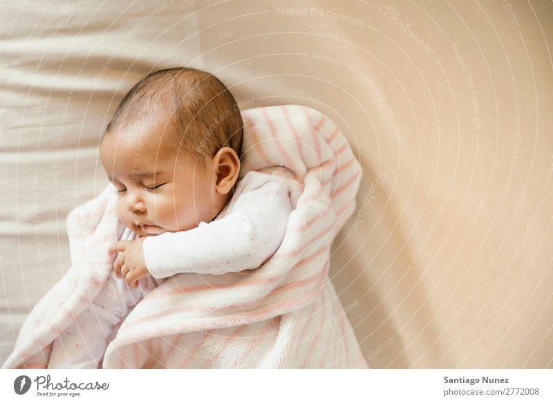Cute Baby Girl sleeping in the Crib Boy (child) Child Cot Lie (Untruth) Sleep Newborn cots Beautiful Portrait photograph Human being Caucasian Face Eyes Home