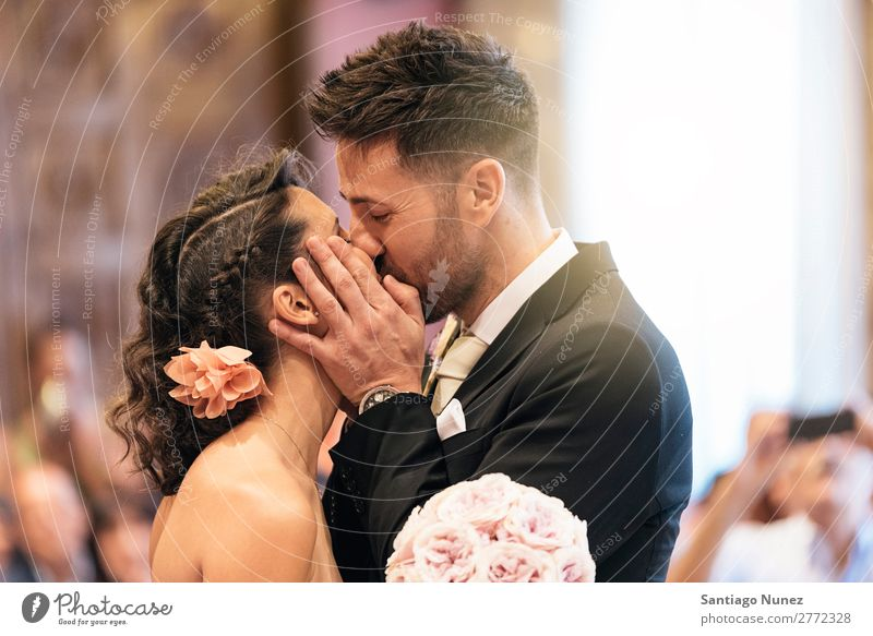 Couple of just married kissing in the church. Wedding Kissing Love Beautiful Ceremony White Beauty Photography Bride Husband Wife Woman Married