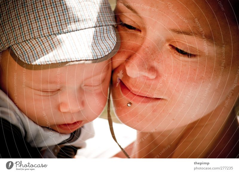 motherly love Baby Mother Adults Face 2 Human being 0 - 12 months 30 - 45 years Embrace Together Happy Cuddly Joie de vivre (Vitality) Safety (feeling of) Love