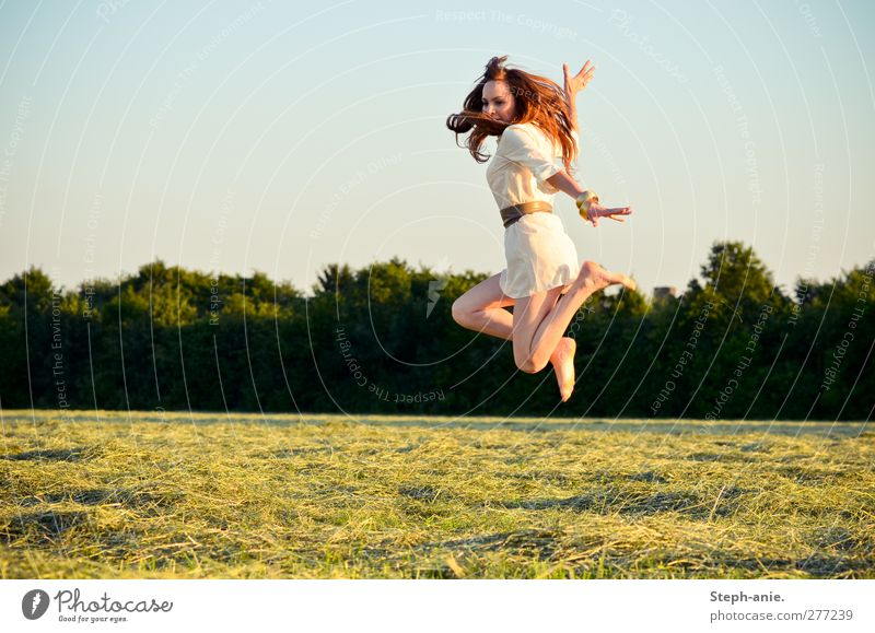 acrobatics Feminine Young woman Youth (Young adults) Cloudless sky Summer Beautiful weather Tree Meadow Dress Belt Barefoot Brunette Red-haired To enjoy Jump