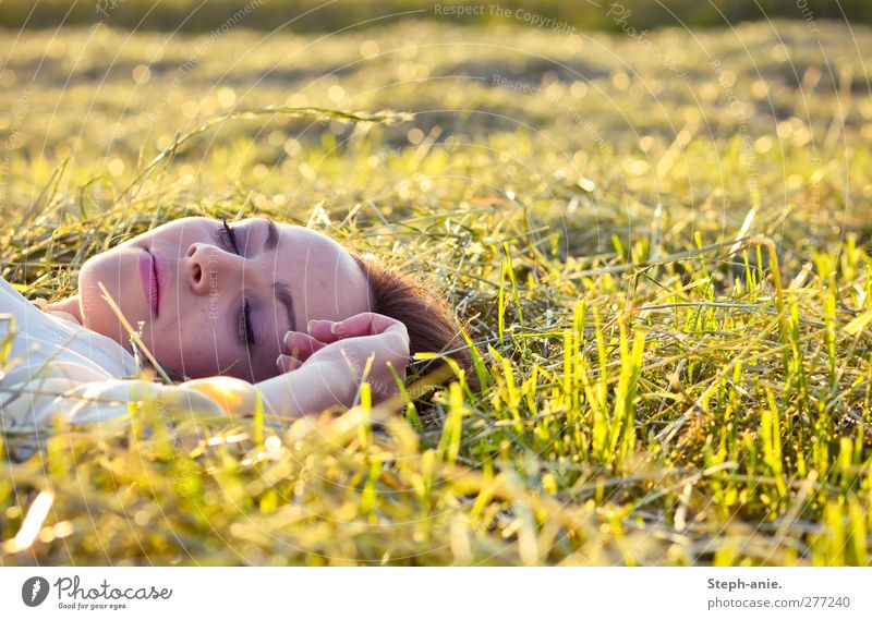 Youth (Young adults) Green Hand Summer Calm Relaxation Adults Face Young woman Yellow Meadow Feminine Grass Happy Dream Lie