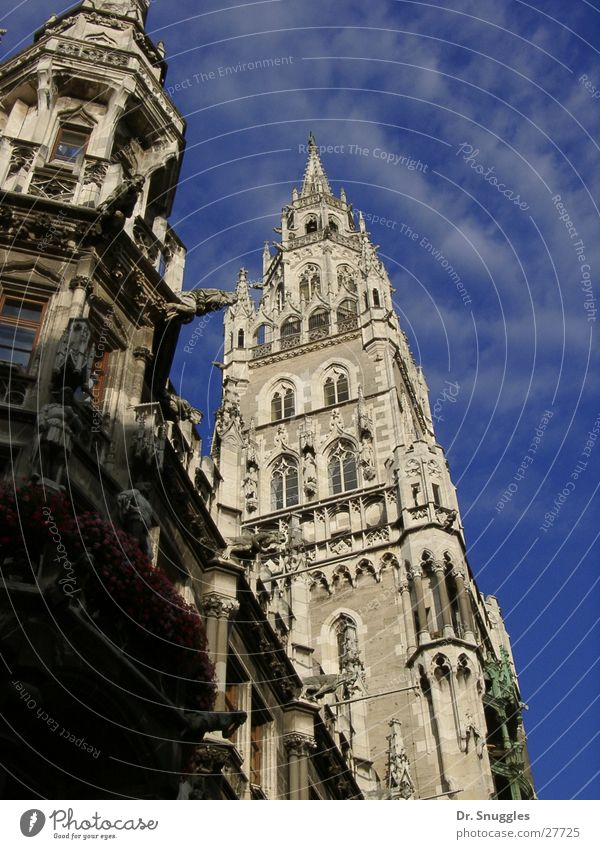 Building Art Architecture Tower Munich Bavaria Blue sky Tourist Attraction City hall Blue-white Marienplatz