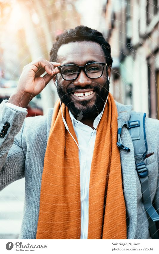 Businessman in the Street. Man Black African American Portrait photograph Youth (Young adults) Happy Mobile Exterior shot Office Human being