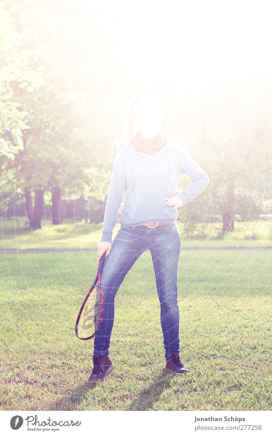 Human being Youth (Young adults) Blue Green Adults Feminine Life Young woman Legs Bright Park Leisure and hobbies Wait Stand Illuminate Individual