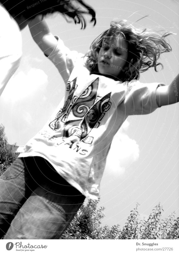 Trampoline Girl Jump Hop Black & white photo Movement B&W Action trampolining