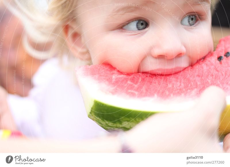 Human being Child Girl Eyes Head Eating Healthy Contentment Blonde Fruit Infancy Food Fresh Sweet Cute To enjoy