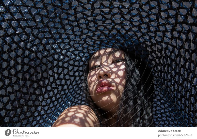 Asian woman in big hat Woman Style Hat Sun Protection Shadow Grid Beautiful