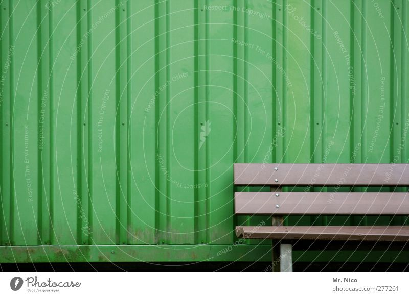 sit down and deepen airthol Wall (barrier) Wall (building) Facade Green Bench Seating Break Container Stripe Structures and shapes Loneliness Calm Tramp